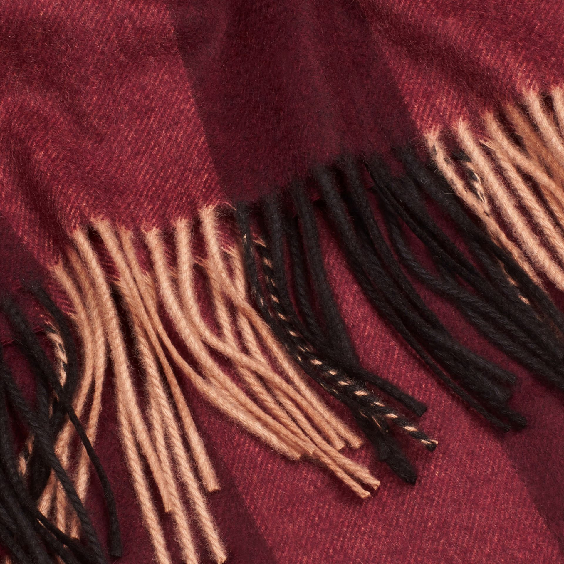 Check Cashmere Blanket in Claret | Burberry United Kingdom - gallery image 1