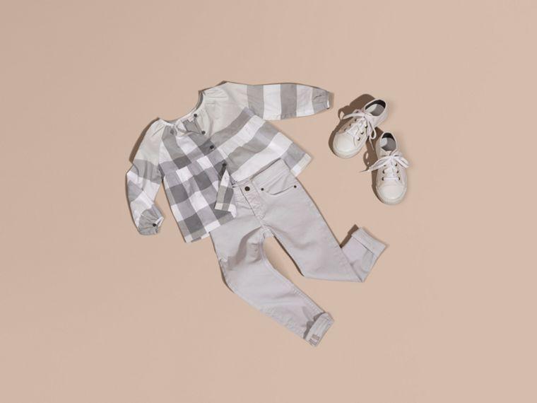Light grey Puff Sleeve Check Cotton Blouse Light Grey - cell image 4