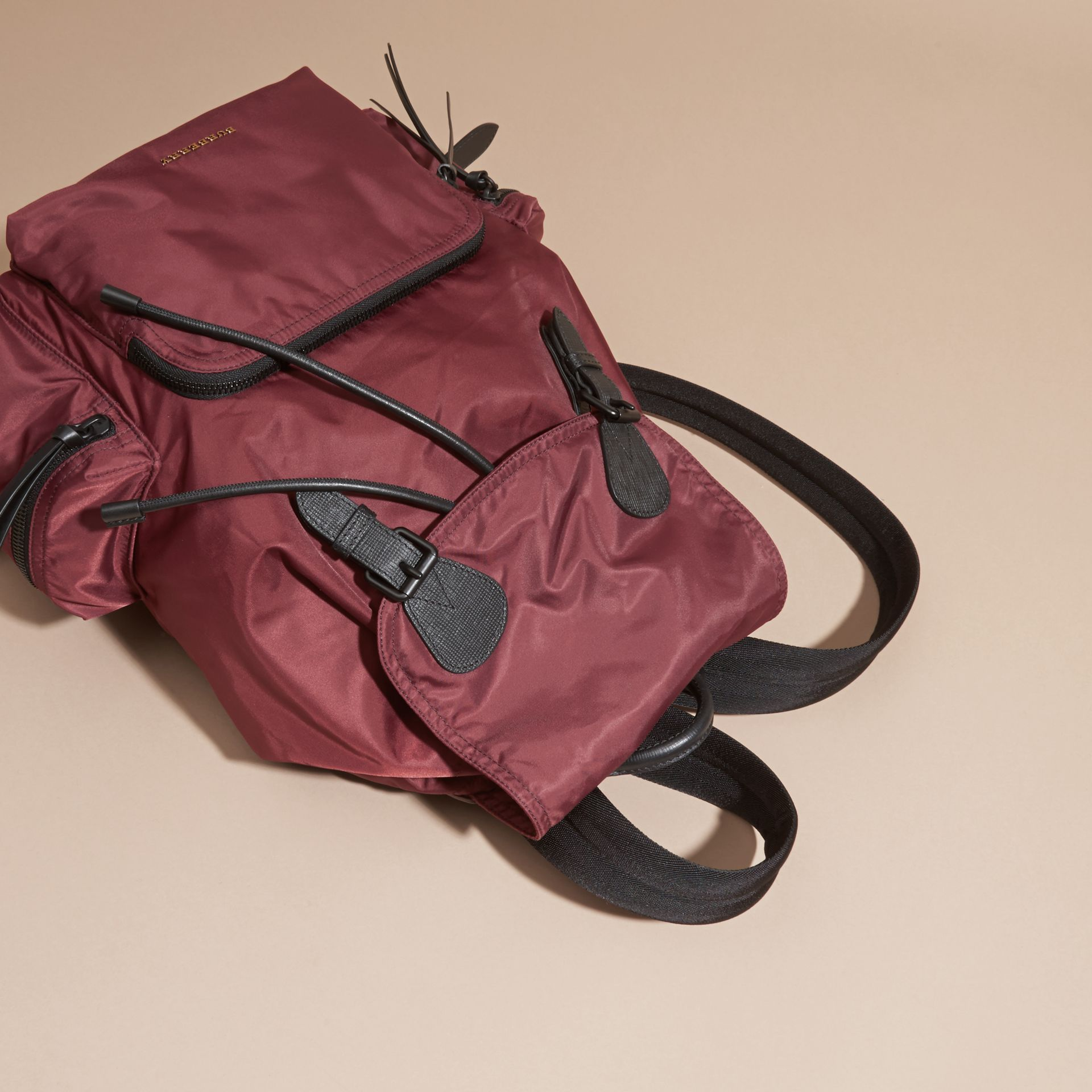 The Large Rucksack in Technical Nylon and Leather Burgundy Red - gallery image 8