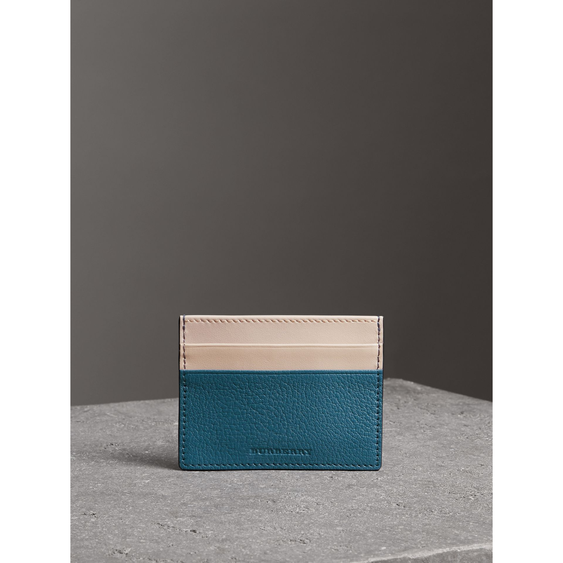 Two-tone Leather Card Case in Peacock Blue | Burberry - gallery image 4