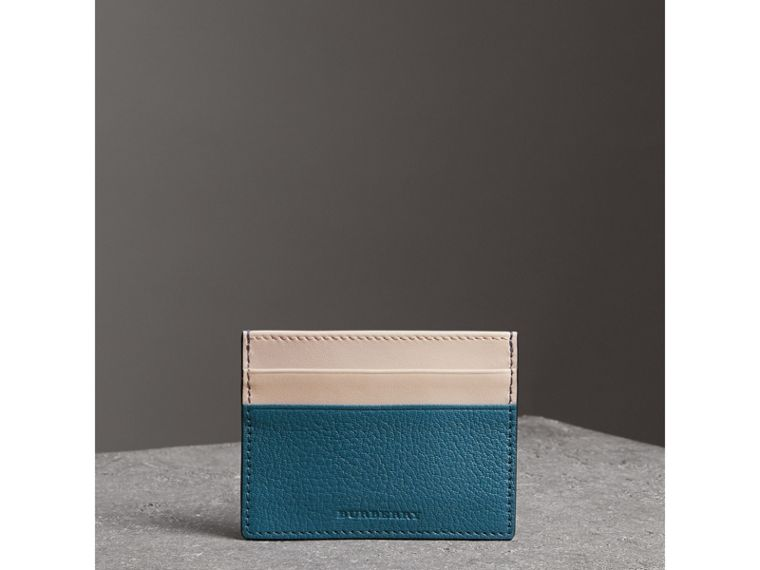Two-tone Leather Card Case in Peacock Blue | Burberry - cell image 4