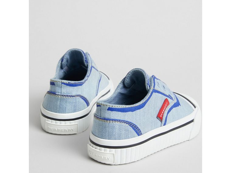 Scribble Print Slip-on Sneakers in Light Blue | Burberry - cell image 1