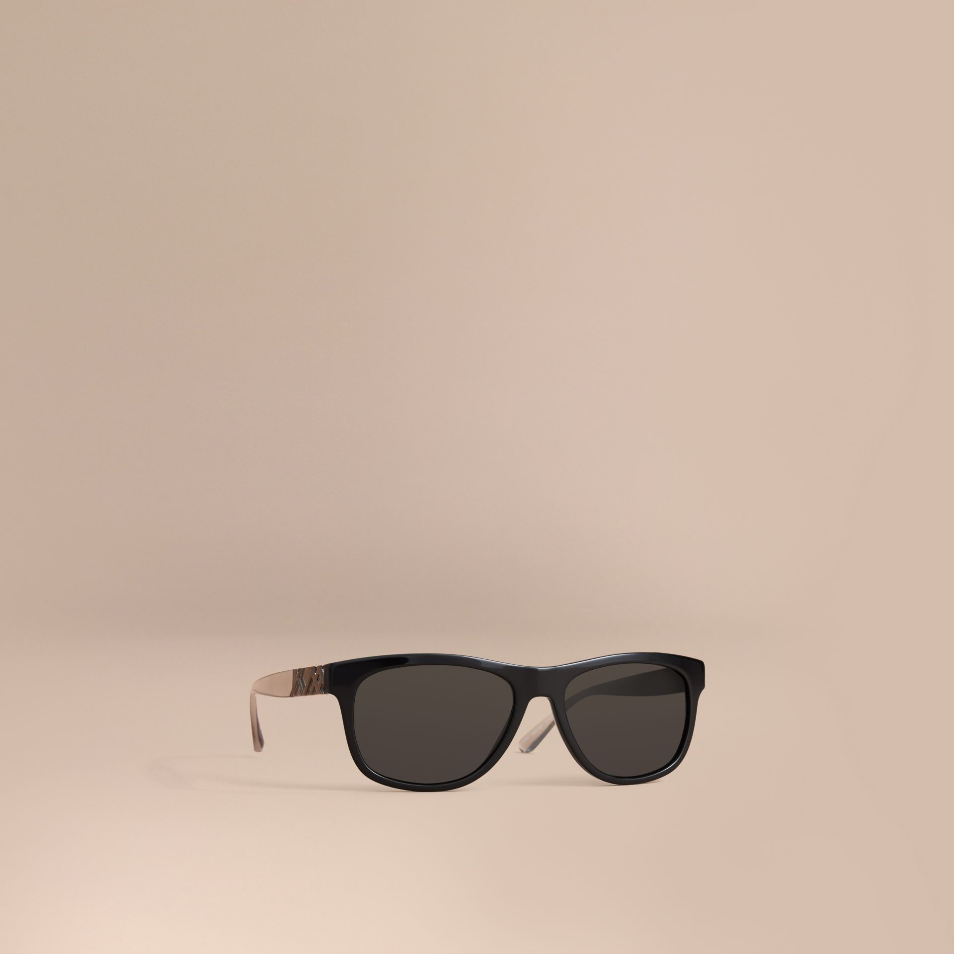 Check Detail Square Frame Sunglasses in Black - Men | Burberry - gallery image 1