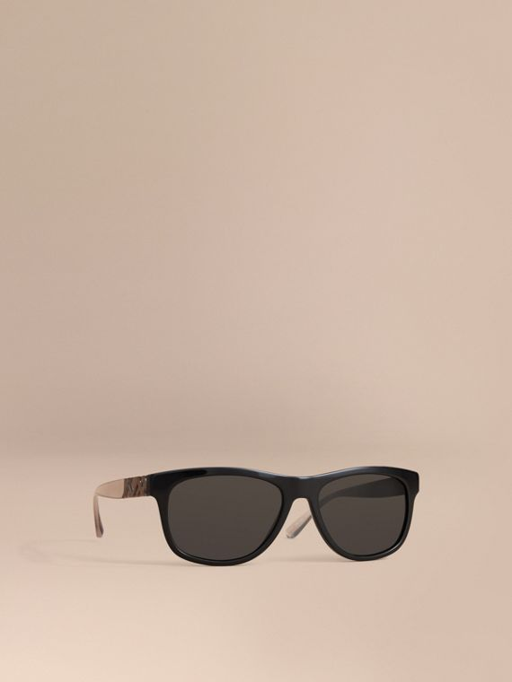 Check Detail Square Frame Sunglasses in Black - Men | Burberry