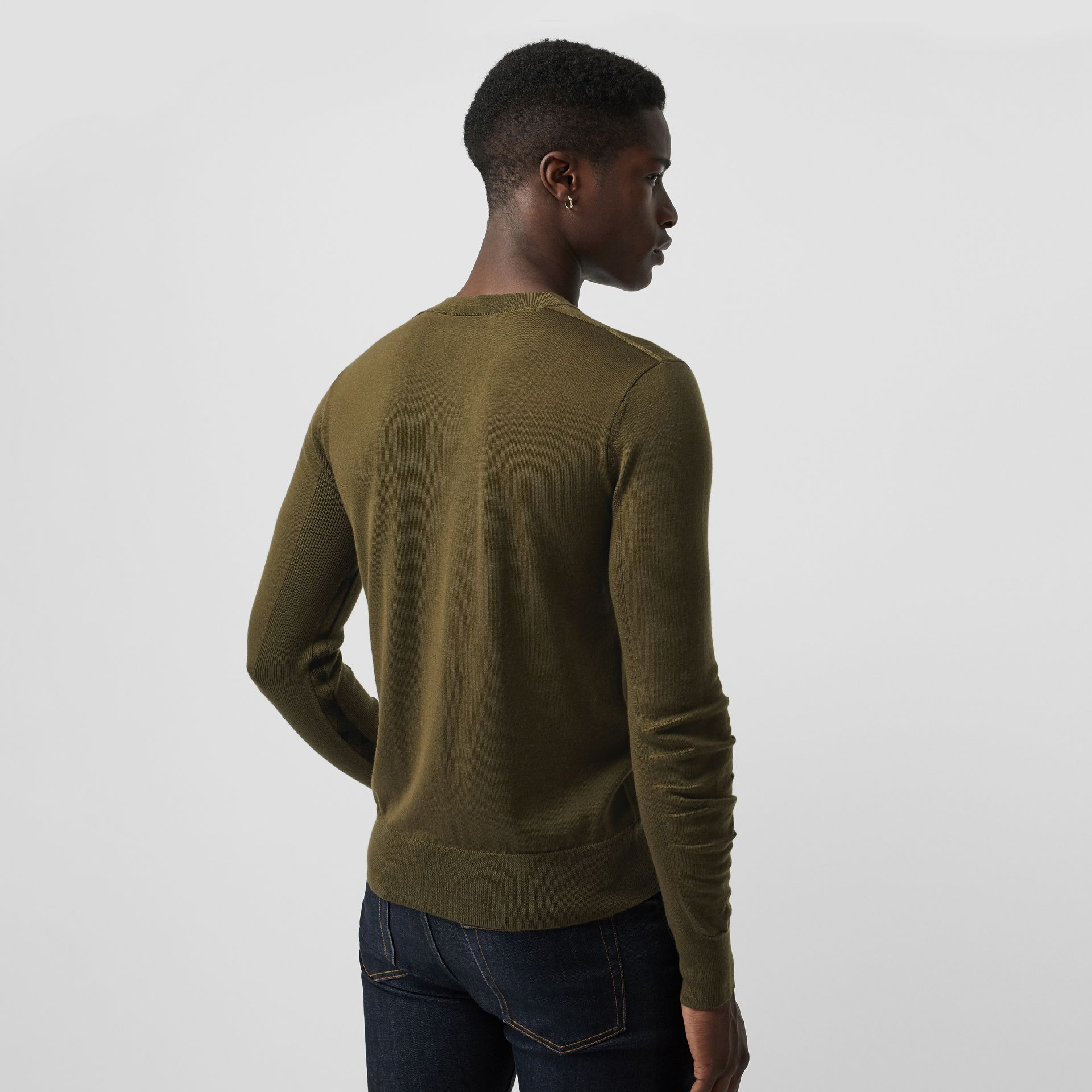 Rib Knit Detail Merino Wool Sweater in Olive Green - Men | Burberry Singapore - gallery image 2