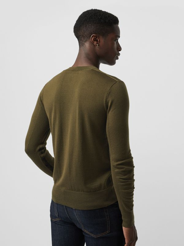 Rib Knit Detail Merino Wool Sweater in Olive Green - Men | Burberry Singapore - cell image 2