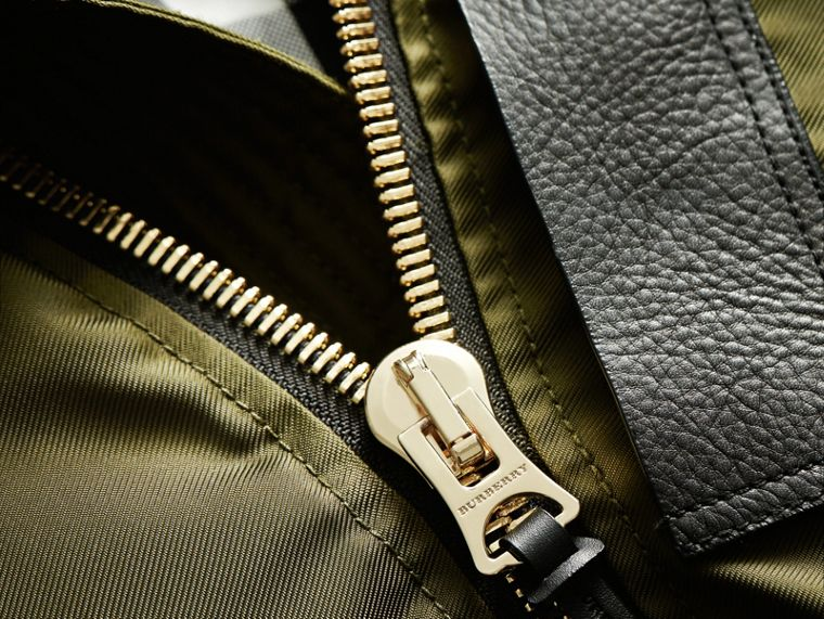 Raccoon Fur and Shearling Hood Duck-down Jacket in Caper Green - Men | Burberry - cell image 1