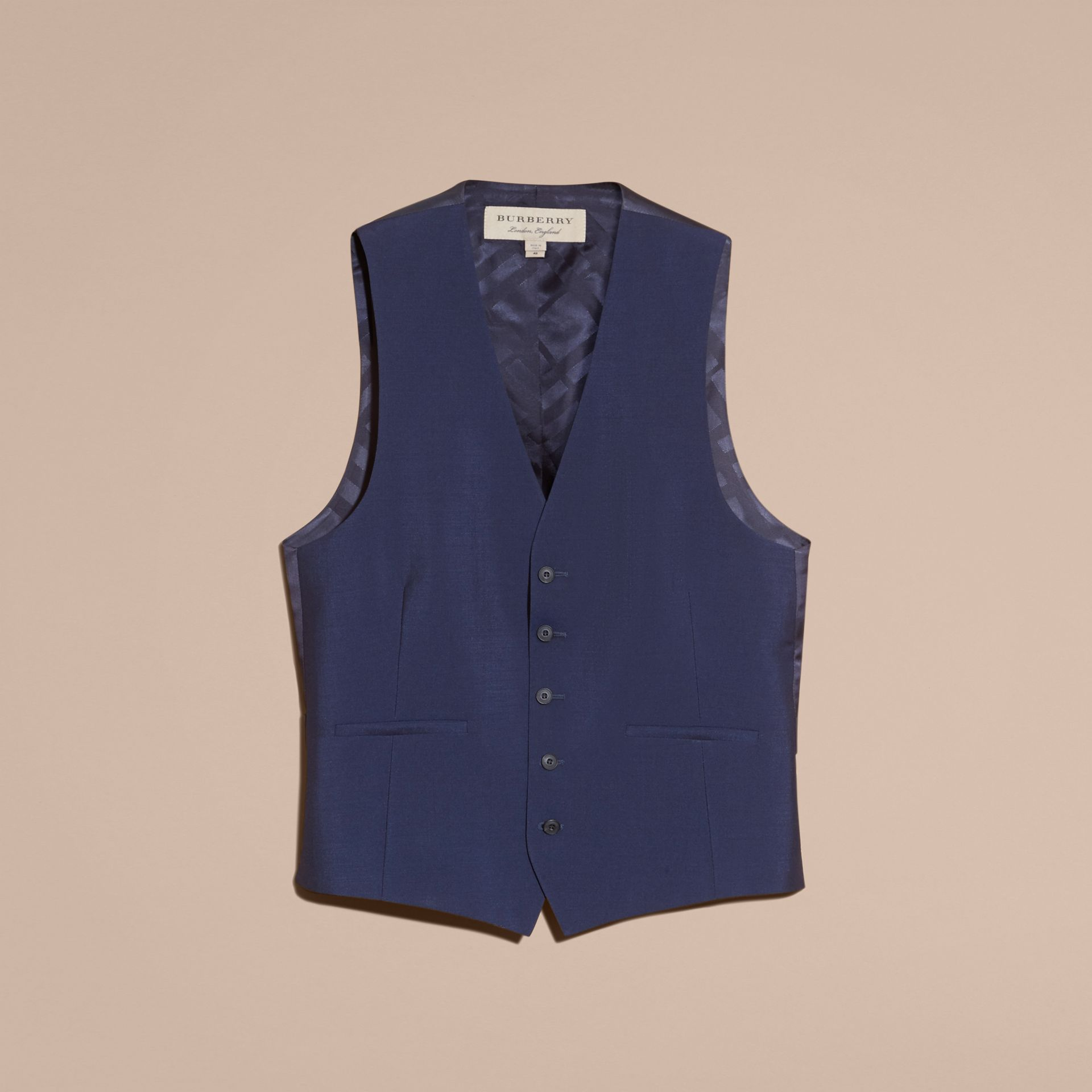 Navy Modern Fit Wool Mohair Tailored Waistcoat - gallery image 4