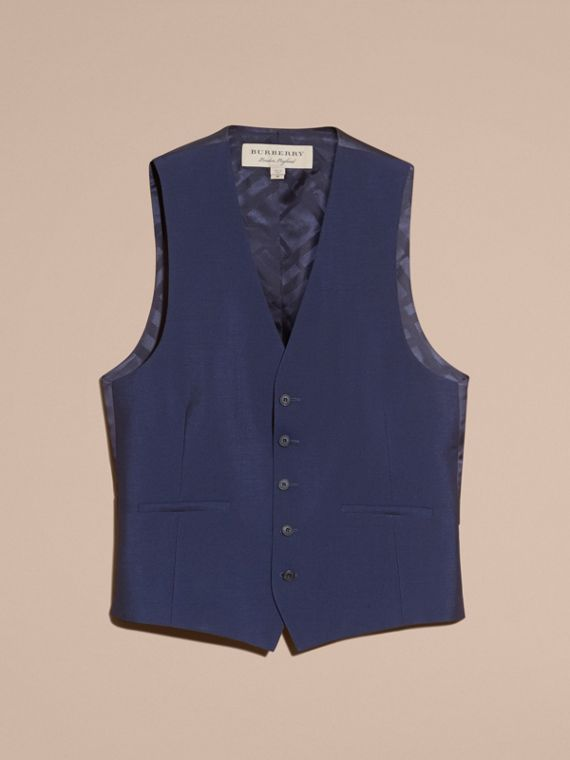 Modern Fit Wool Mohair Tailored Waistcoat in Navy - Men | Burberry Canada - cell image 3
