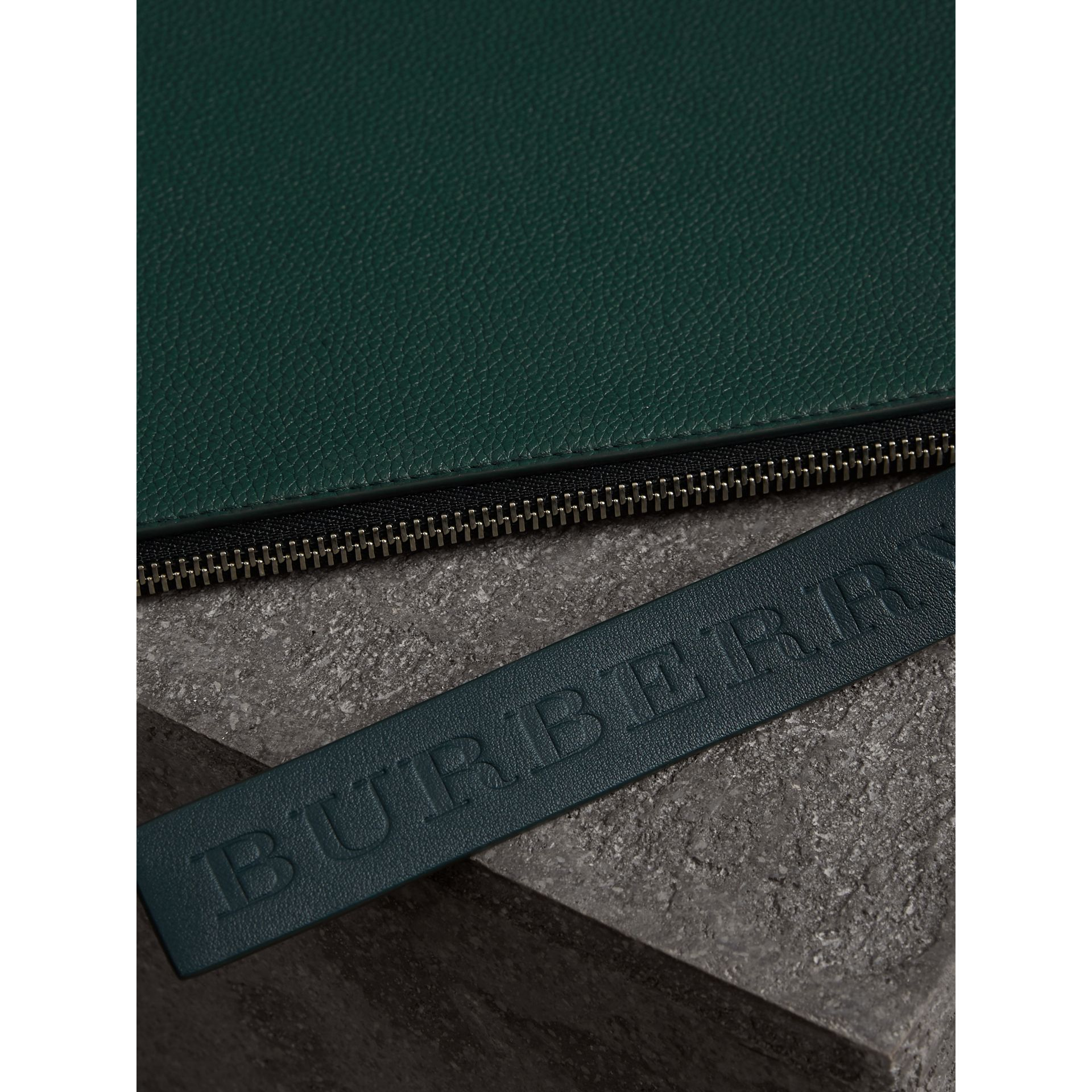 Grainy Leather Zip Pouch in Dark Cyan | Burberry - gallery image 1