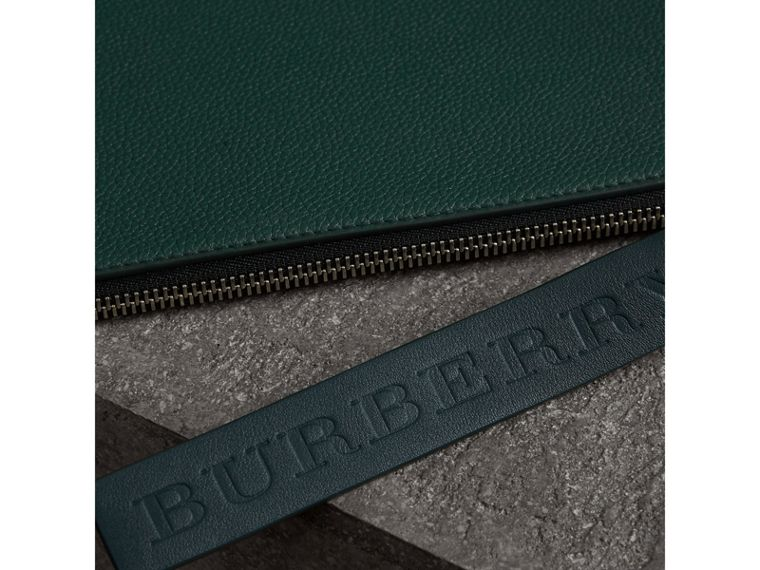 Grainy Leather Zip Pouch in Dark Cyan | Burberry Canada - cell image 1