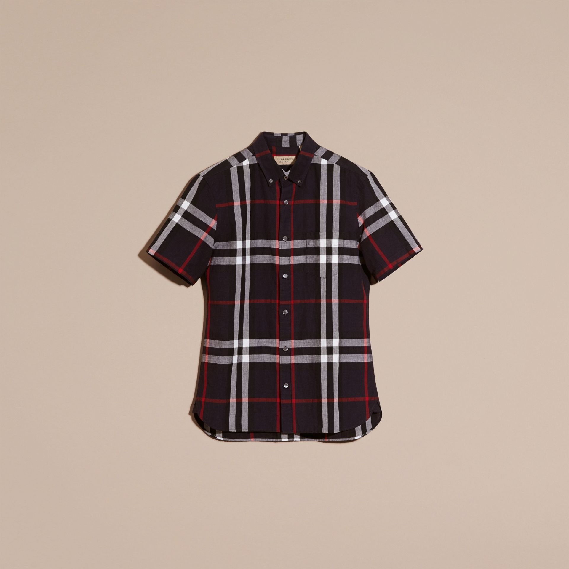 Short-sleeved Check Linen Cotton Shirt in Navy - gallery image 3