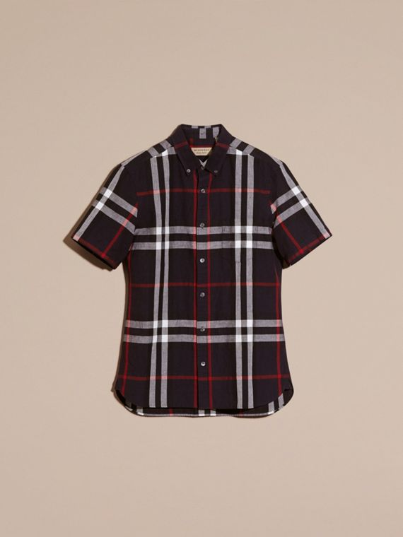 Short-sleeved Check Linen Cotton Shirt in Navy - Men | Burberry - cell image 2