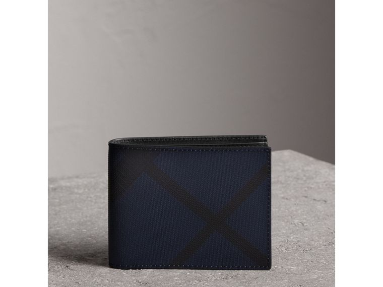 London Check and Leather Bifold Wallet in Navy/black - Men | Burberry - cell image 4