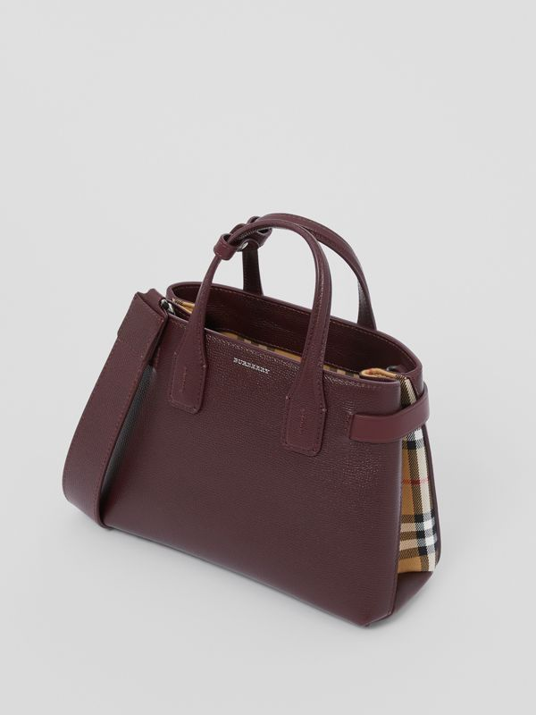 The Small Banner Bag in Leather and Vintage Check in Mahogany Red - Women | Burberry United Kingdom - cell image 3