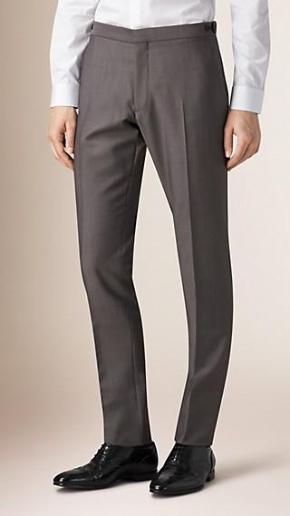 Pantalon de coupe slim en laine et mohair