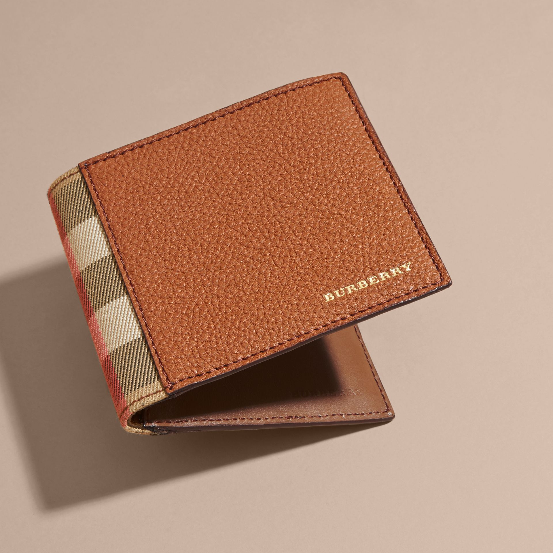 Leather and House Check Folding Wallet Russet - gallery image 4