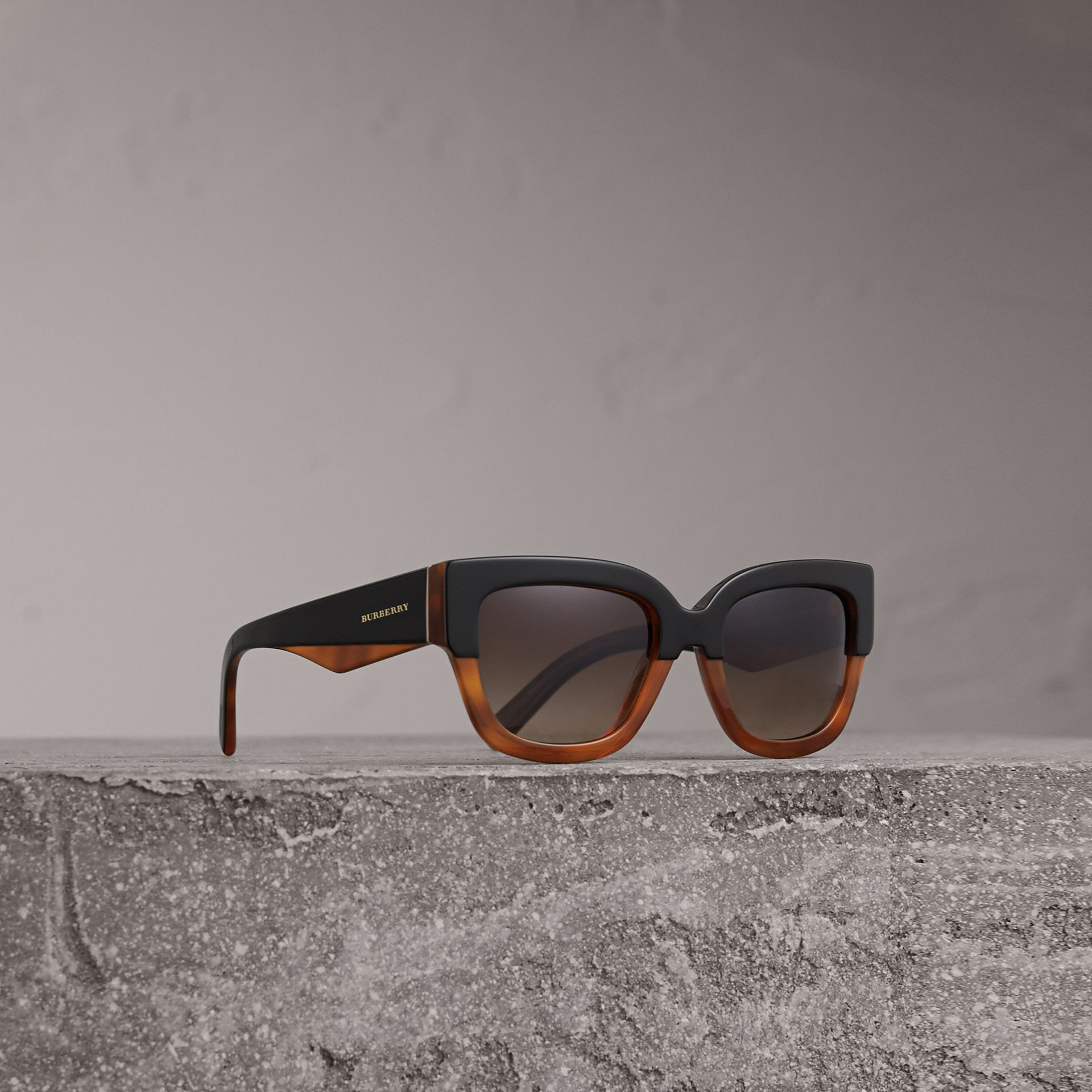 Two-tone Square Frame Sunglasses in Light Brown - Women | Burberry - gallery image 0