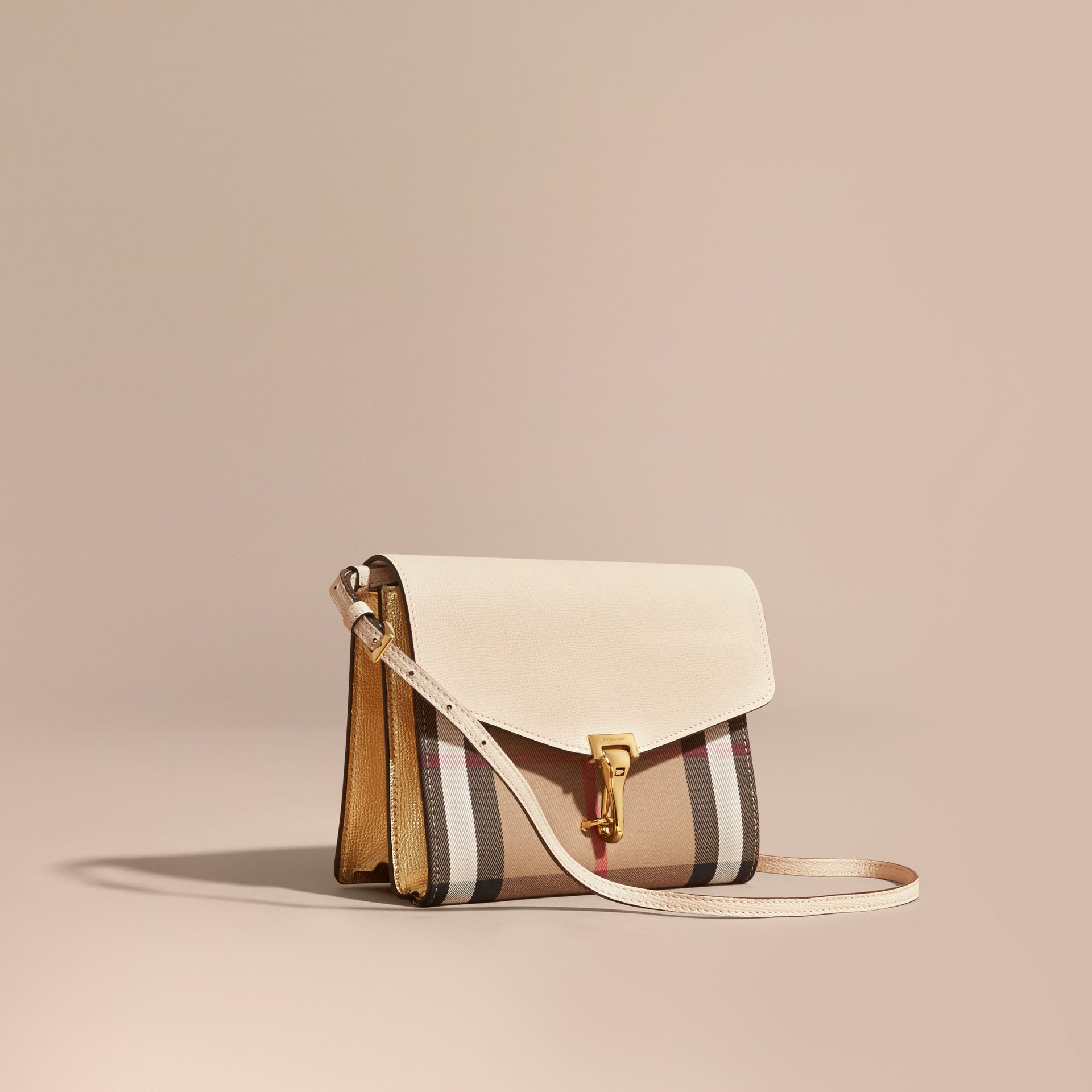 Small Leather and House Check Crossbody Bag in Limestone - gallery image 1