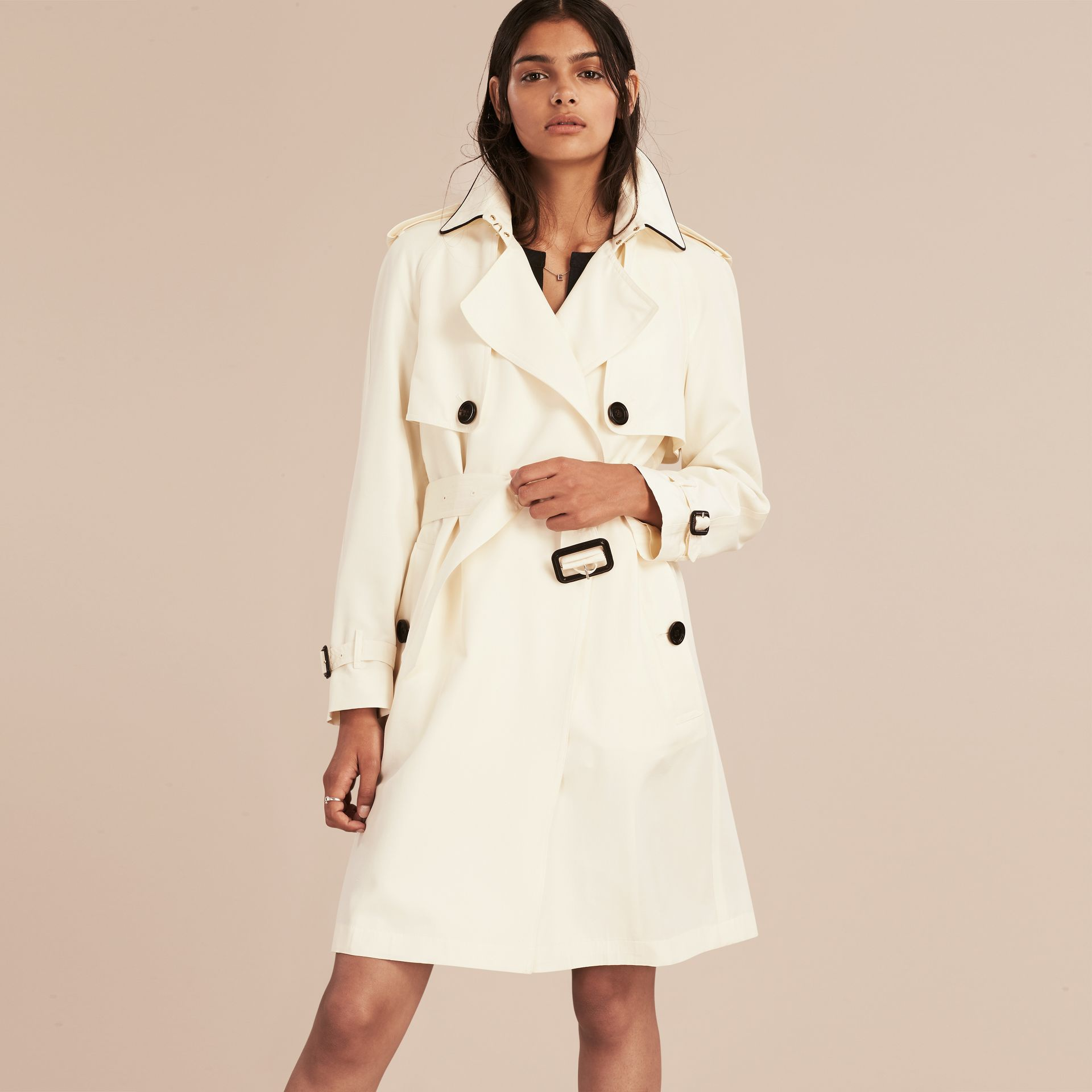 Parchment Oversize Detail Silk Trench Coat Parchment - gallery image 6