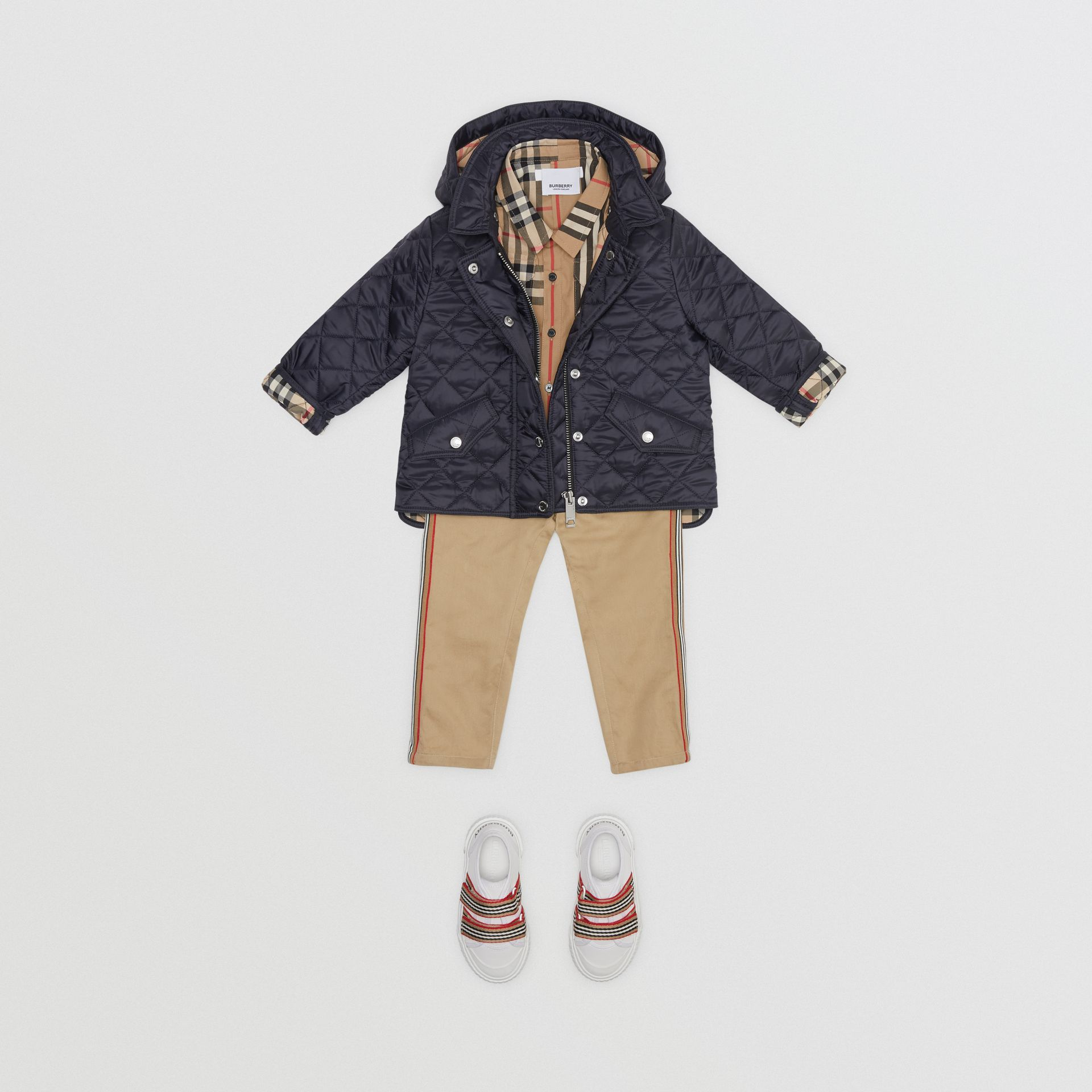 Detachable Hood Diamond Quilted Jacket in Navy - Children | Burberry - gallery image 2