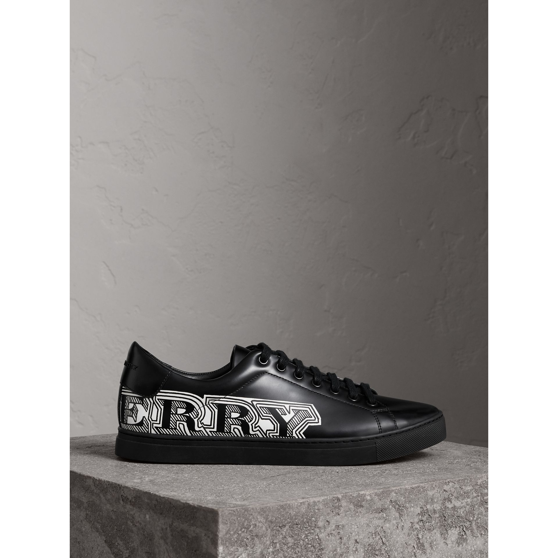 Doodle Print Leather Trainers in Black - Men | Burberry - gallery image 4