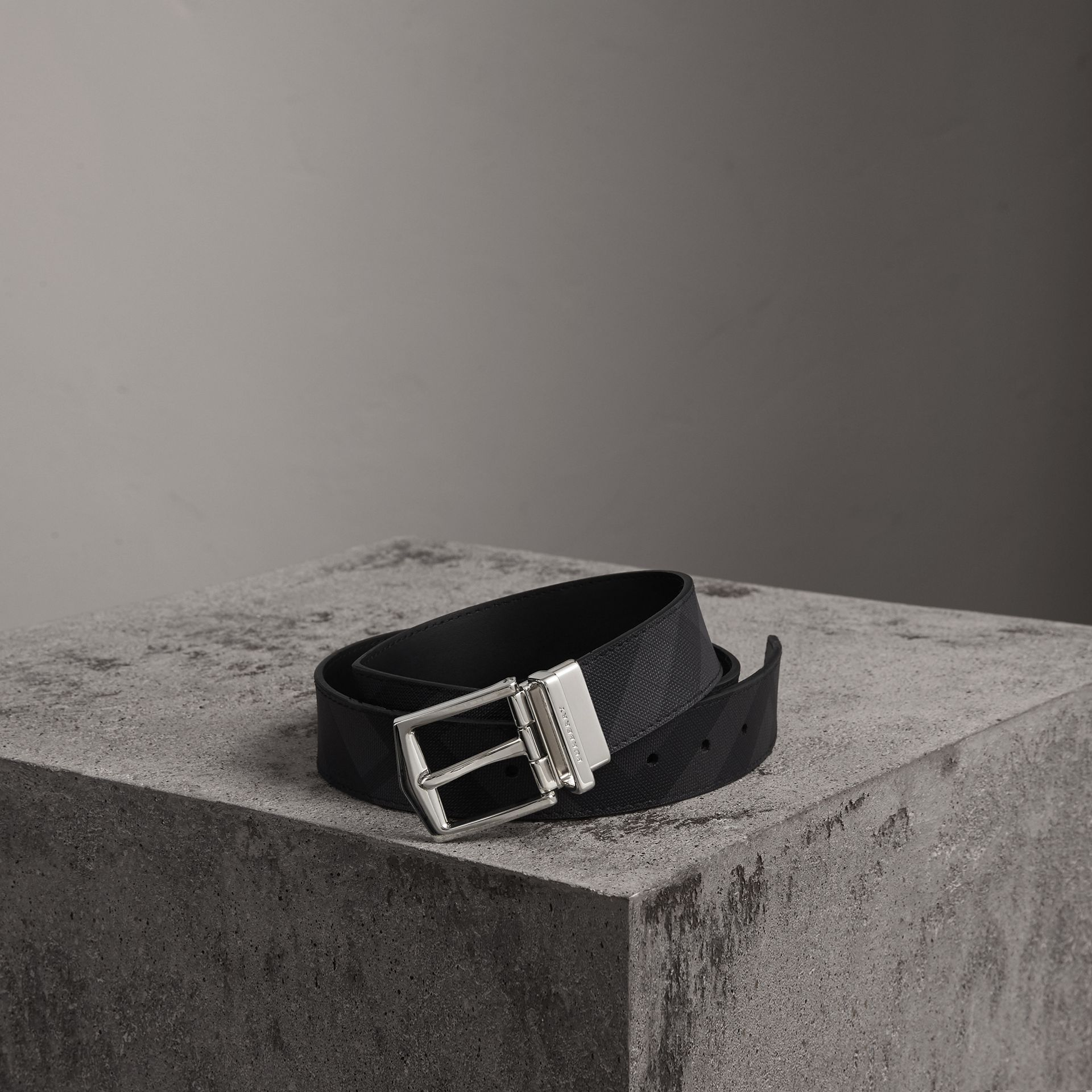 Reversible London Check and Leather Belt in Charcoal/black - Men | Burberry United States - gallery image 0