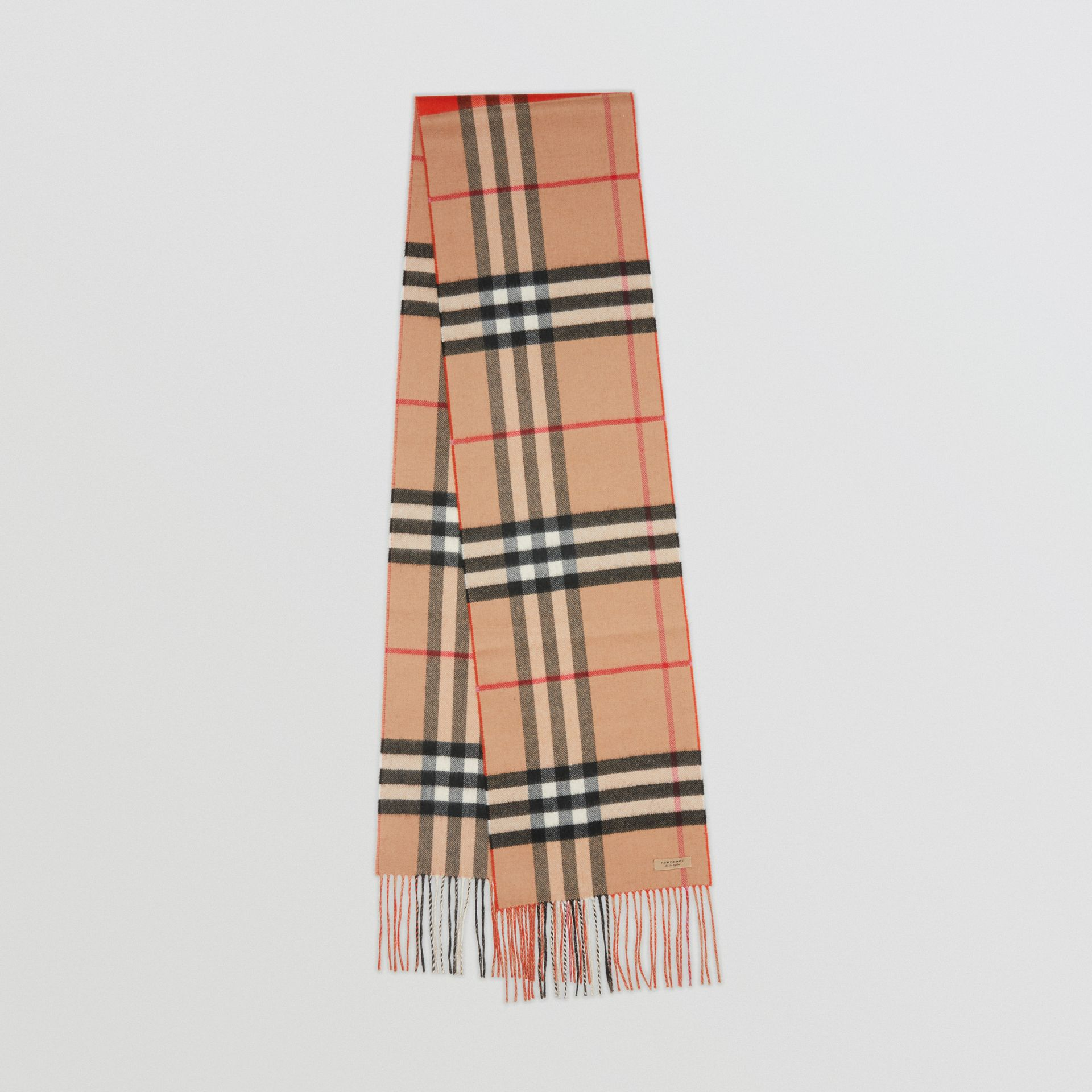 Long Reversible Colour Block Double-faced Cashmere Scarf in Bright Orange Red | Burberry United Kingdom - gallery image 0