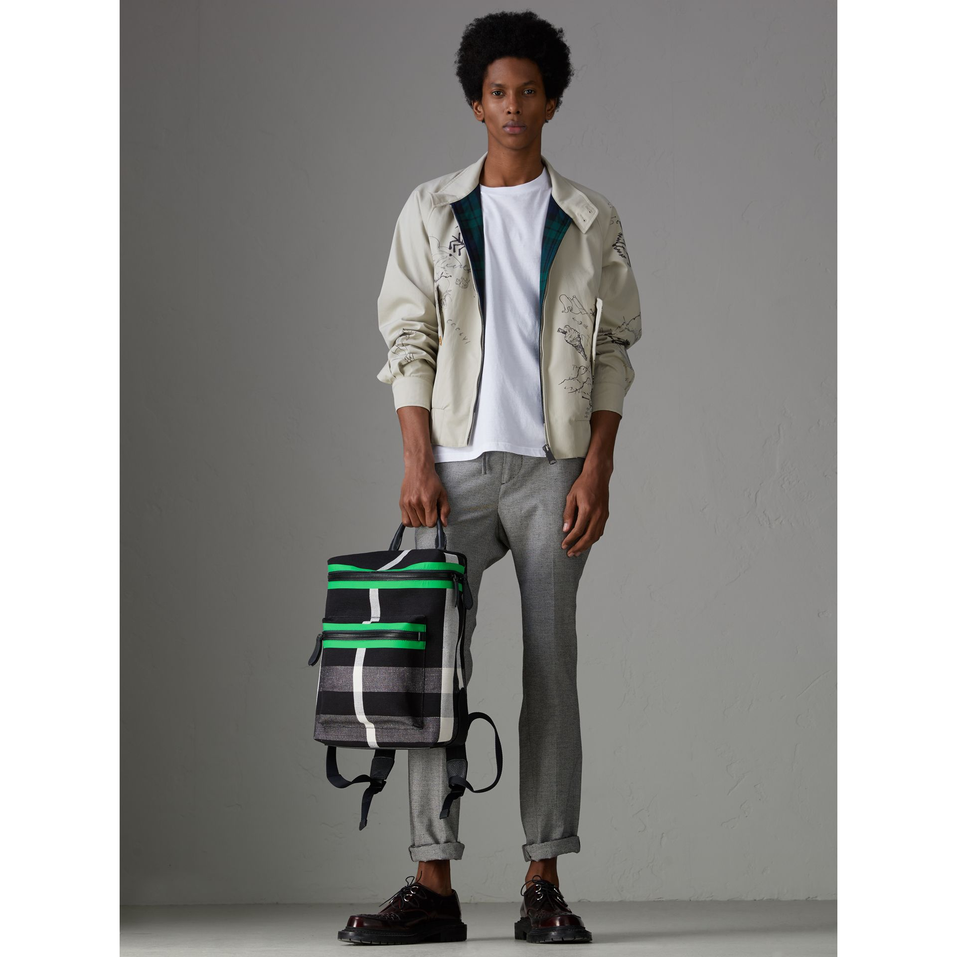 Zip-top Leather Trim Canvas Check Backpack in Racing Green/black - Men | Burberry - gallery image 2