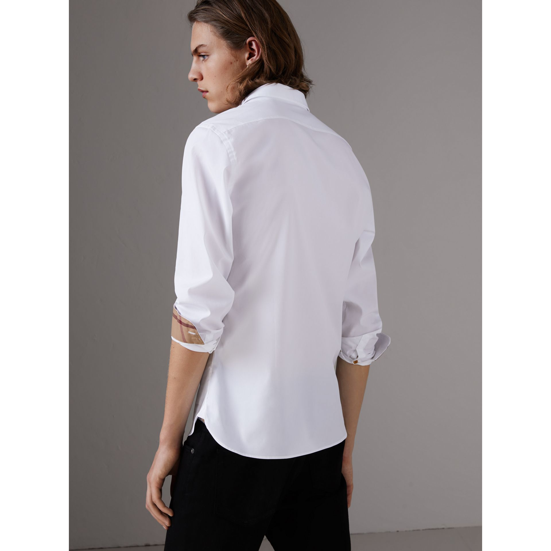Resin Button Cotton Poplin Shirt in White - Men | Burberry - gallery image 3