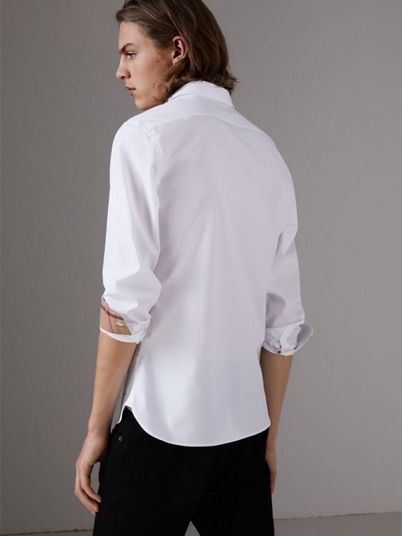 Resin Button Cotton Poplin Shirt in White - Men | Burberry - cell image 2