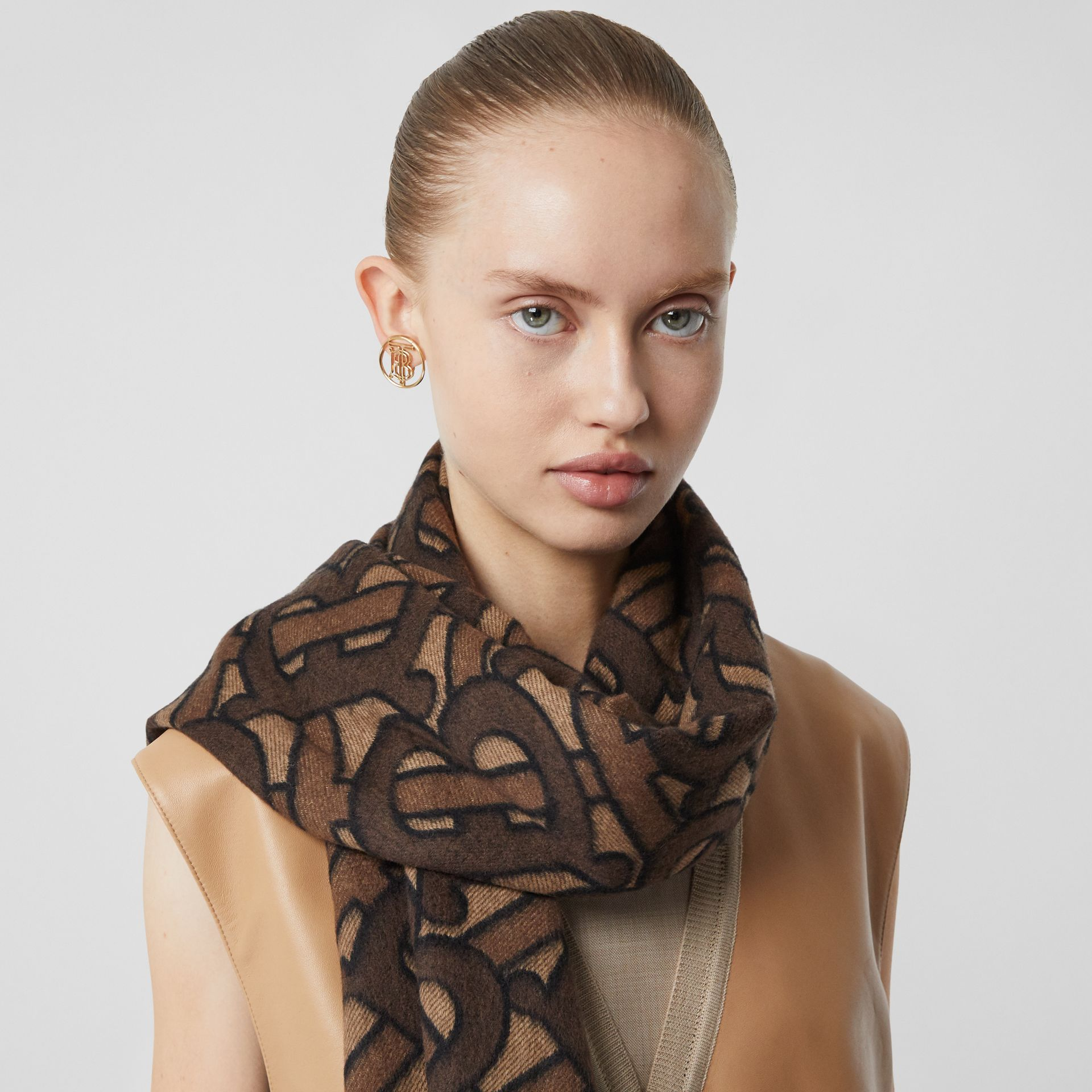 Monogram Cashmere Jacquard Scarf in Dark Mocha | Burberry - gallery image 2