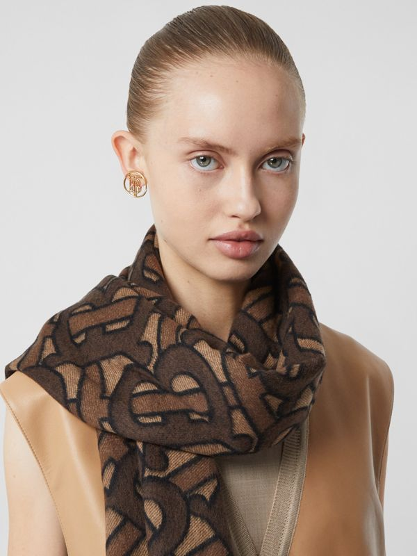 Monogram Cashmere Jacquard Scarf in Dark Mocha | Burberry Singapore - cell image 2