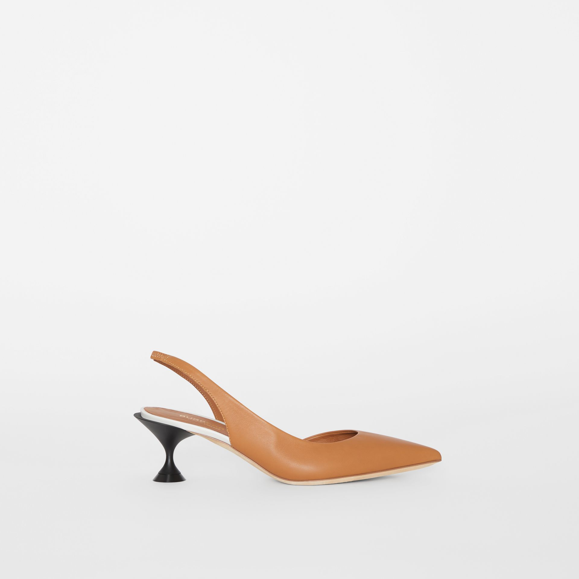 Leather Slingback Pumps in Camel - Women | Burberry - gallery image 4