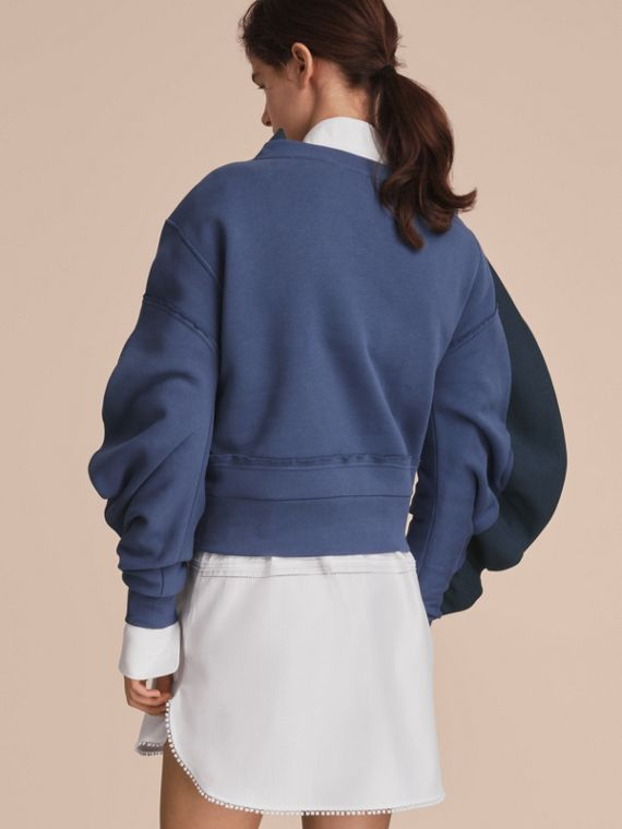 Sculptured-sleeve Asymmetric Sweatshirt Pewter Blue - cell image 2
