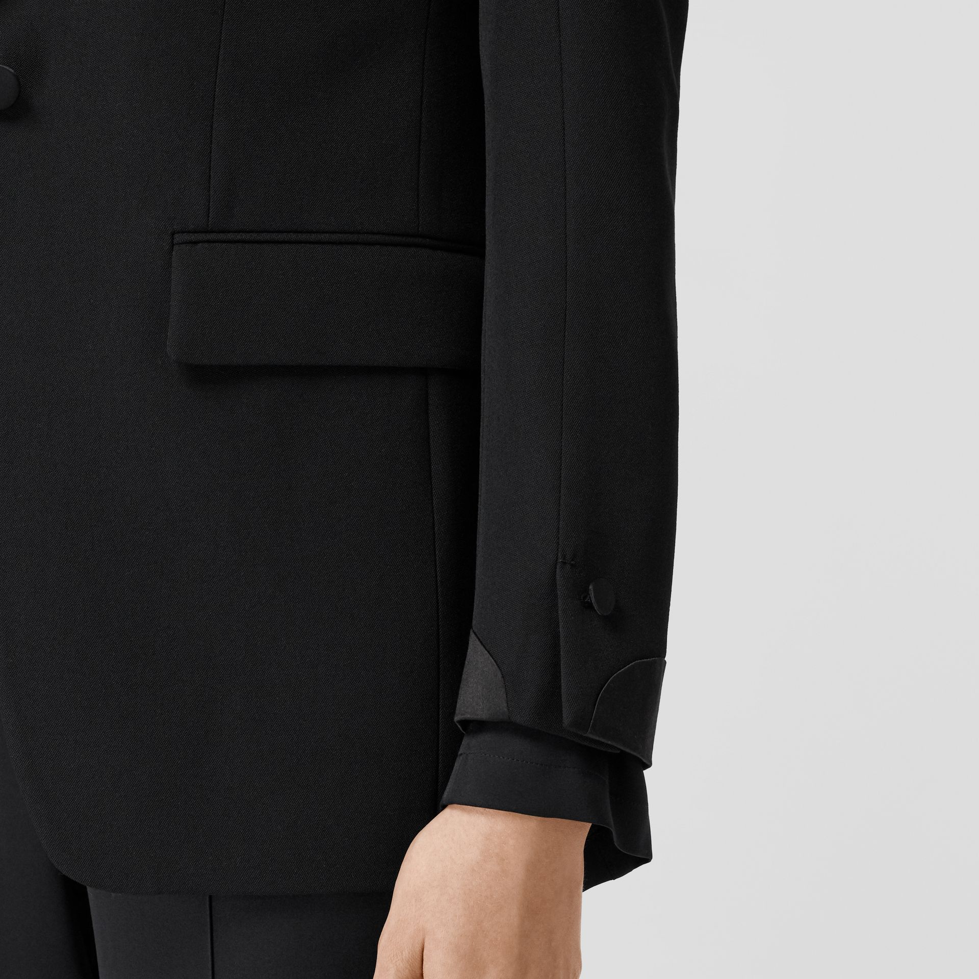 Silk Panel Wool Tailored Jacket in Black - Women | Burberry - gallery image 4