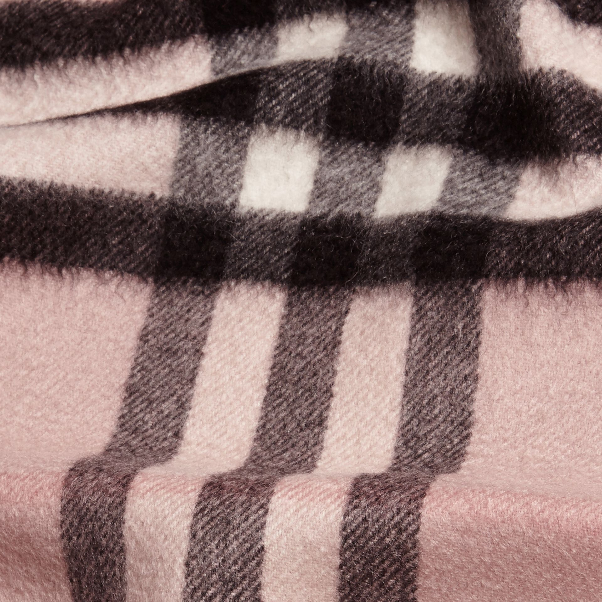 The Mini Classic Cashmere Scarf in Check Rose - gallery image 4