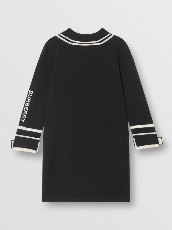 Trompe L'Oeil Intarsia Cashmere Sweater Dress in Black | Burberry - cell image 3
