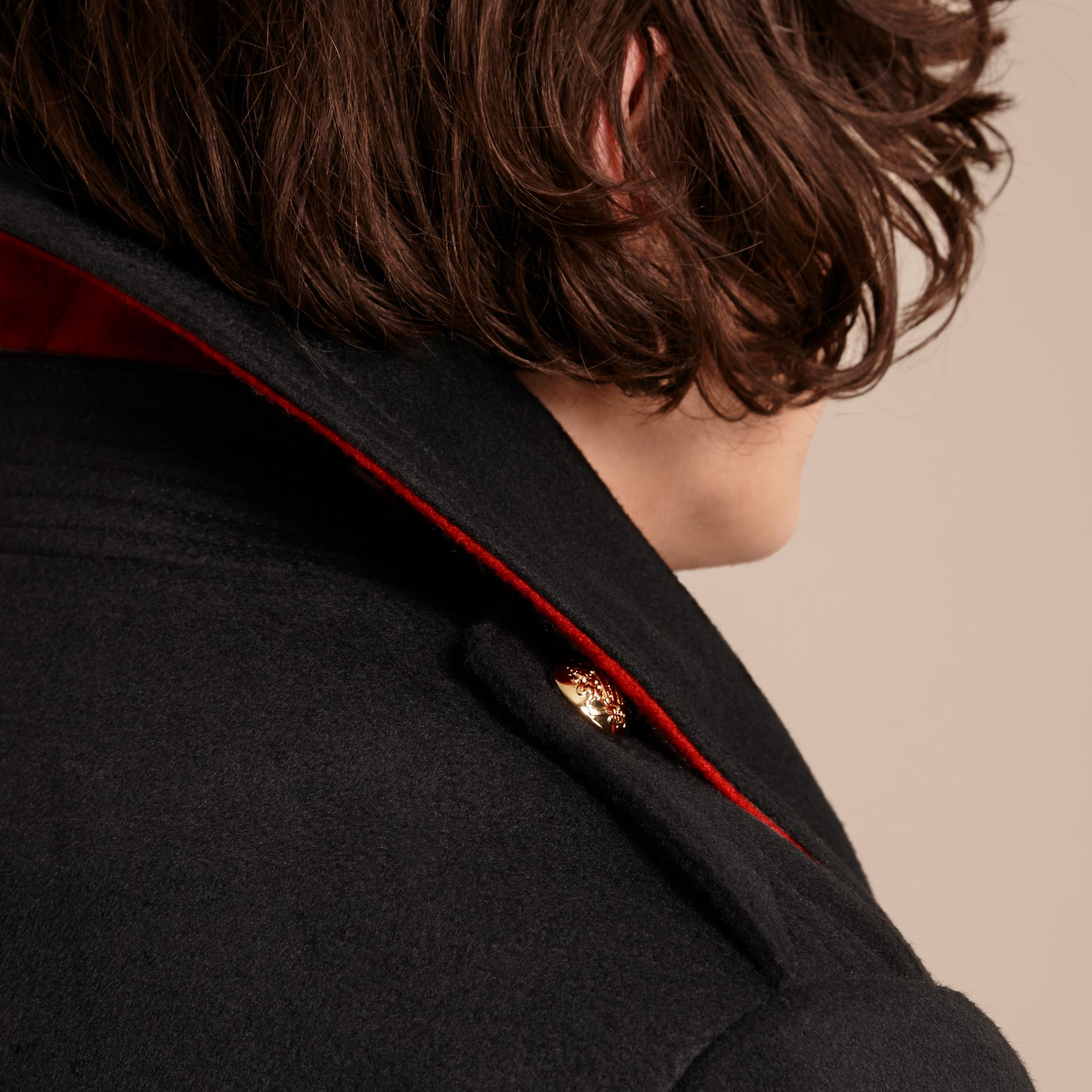 Black Military Pea Coat with Detachable Shearling Collar - gallery image 6