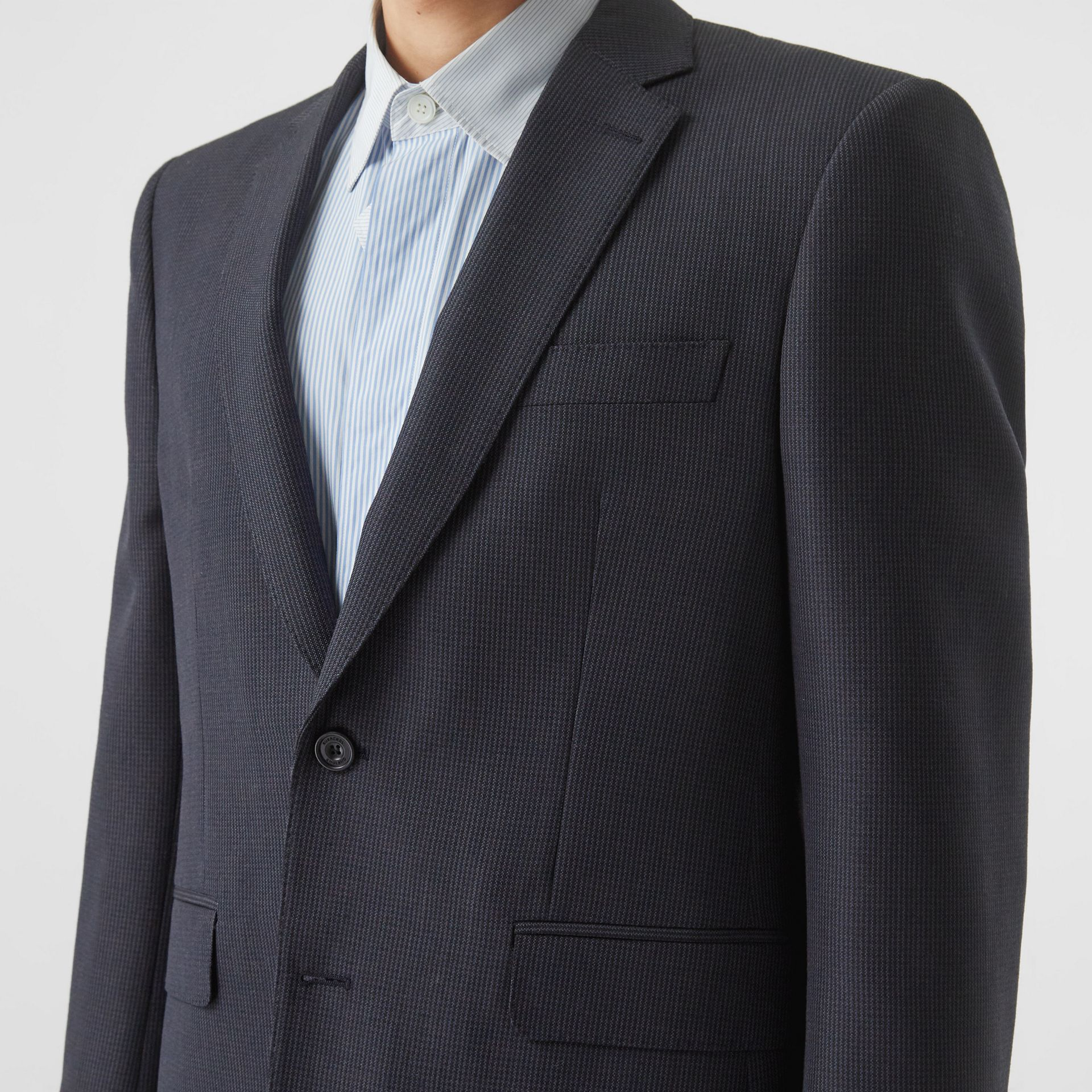 Classic Fit Puppytooth Check Wool Mohair Suit in Navy - Men | Burberry - gallery image 1