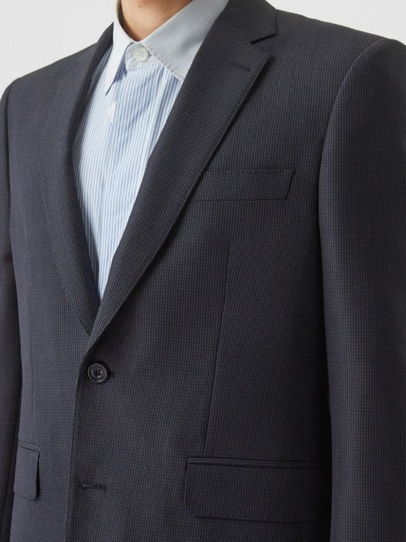 Classic Fit Puppytooth Check Wool Mohair Suit in Navy - Men | Burberry - cell image 1