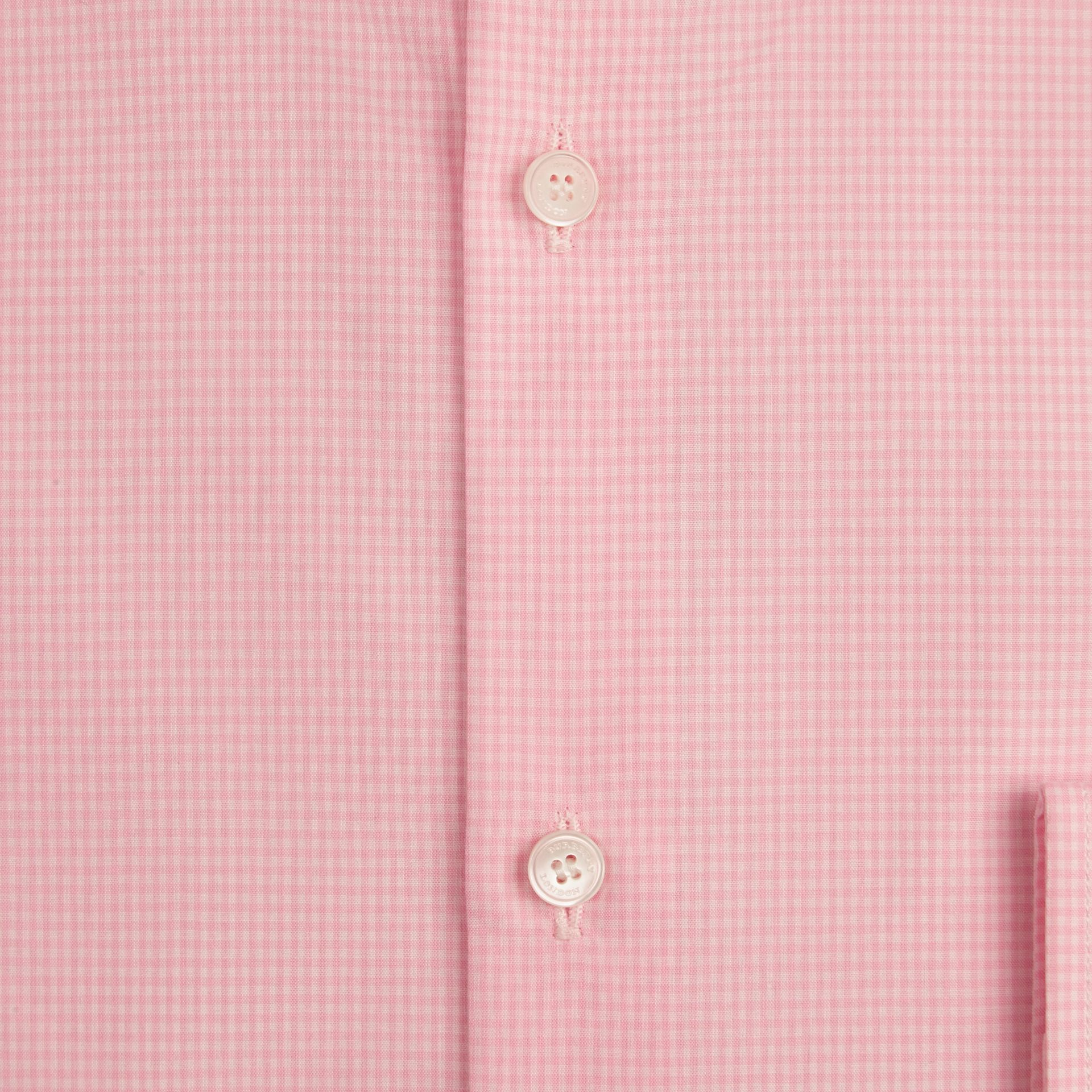 Slim Fit Button-down Collar Gingham Cotton Poplin Shirt in City Pink - gallery image 2