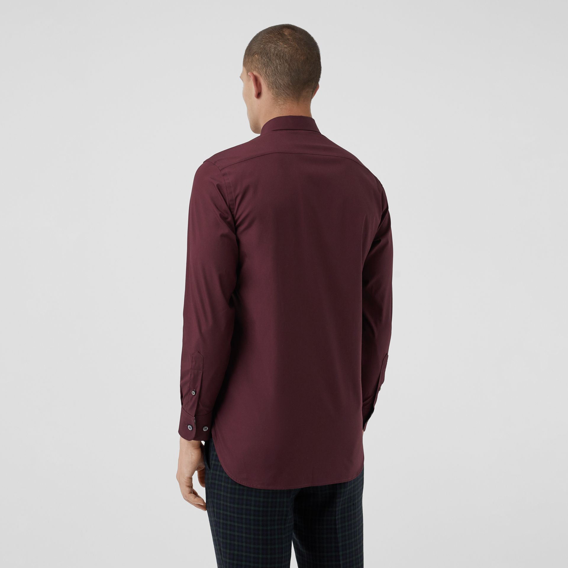 Check Cuff Stretch Cotton Poplin Shirt in Oxblood - Men | Burberry Australia - gallery image 2