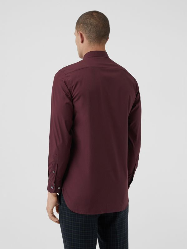 Check Cuff Stretch Cotton Poplin Shirt in Oxblood - Men | Burberry - cell image 2