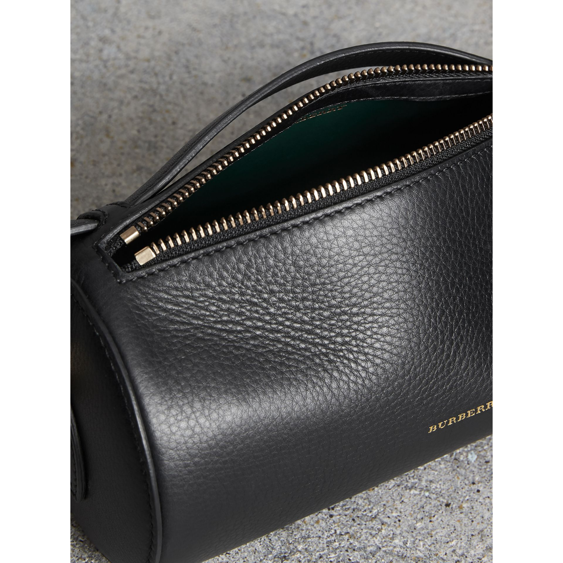 The Leather Barrel Bag in Black - Women | Burberry - gallery image 5