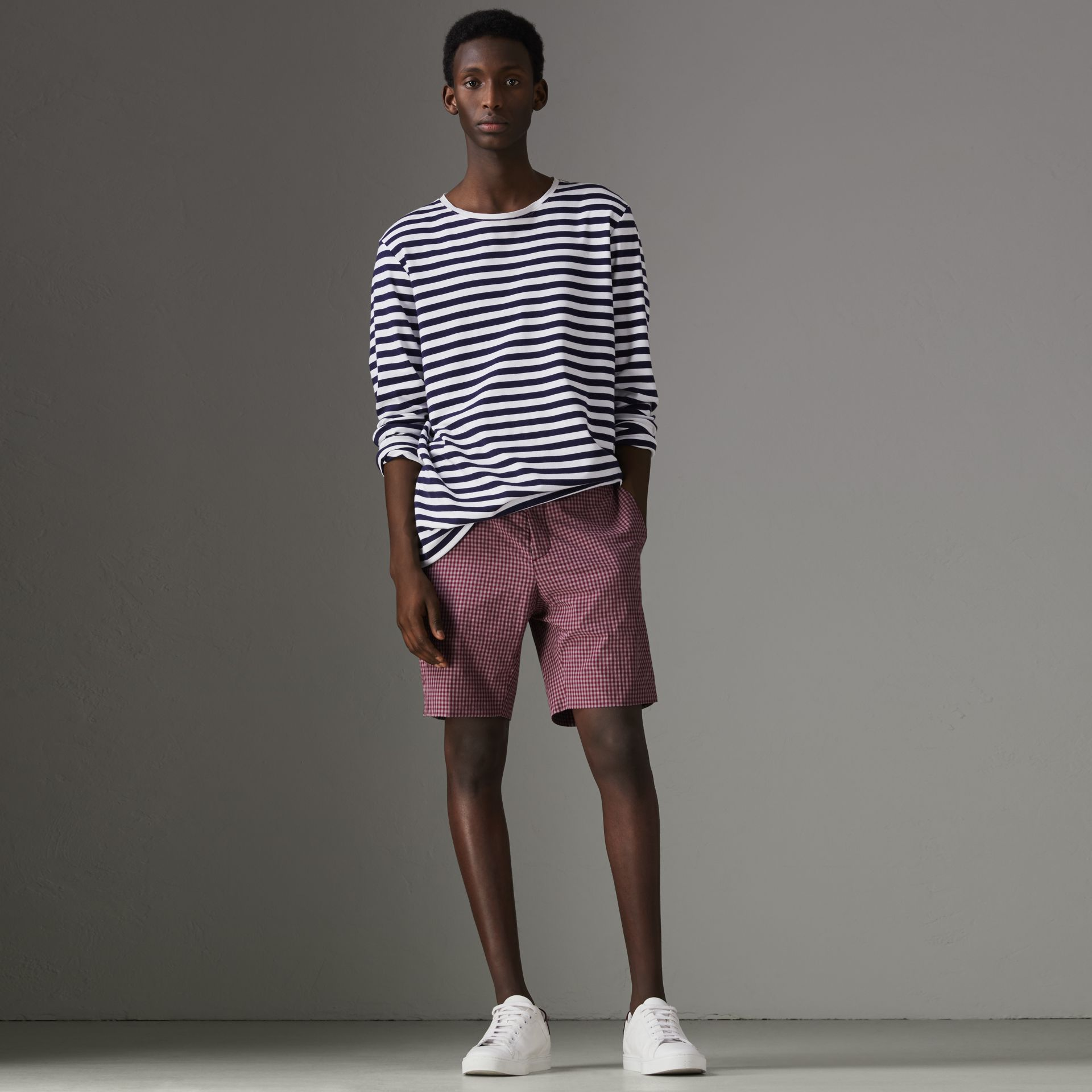 Gingham Cotton Tailored Shorts in Elderberry - Men | Burberry - gallery image 0