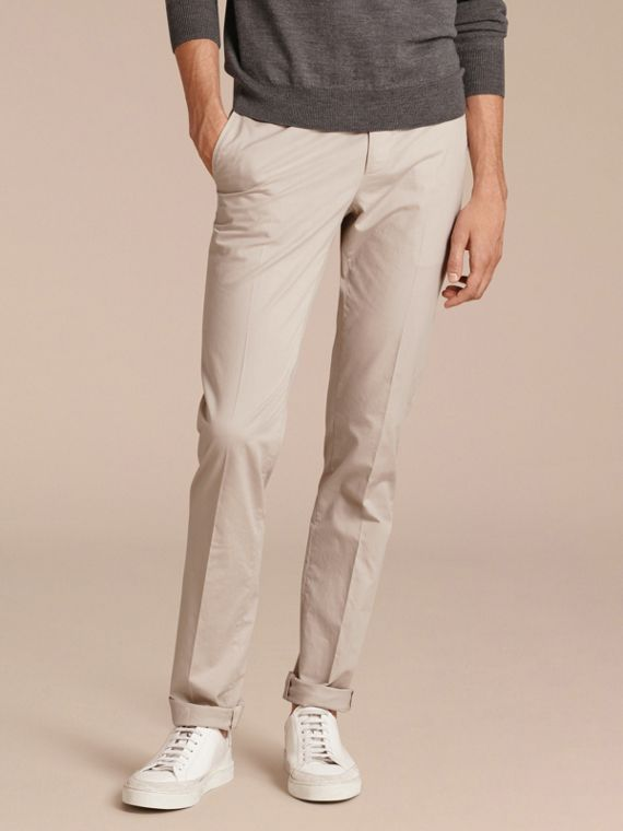 Slim Fit Stretch Cotton Trousers Sand