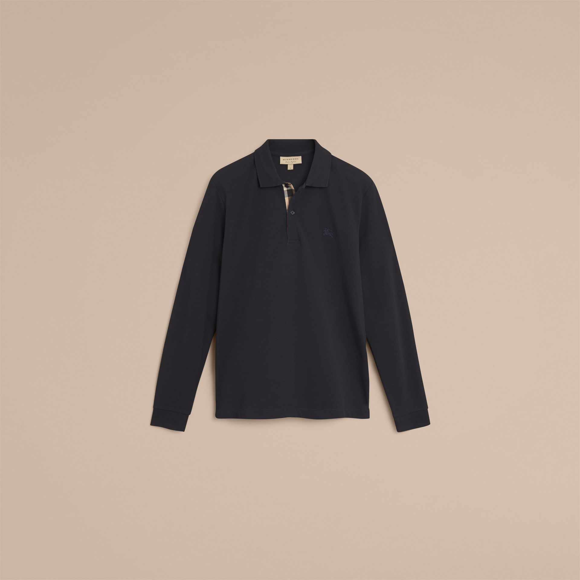 Check Placket Long Sleeve Polo Shirt in Dark Navy - gallery image 4