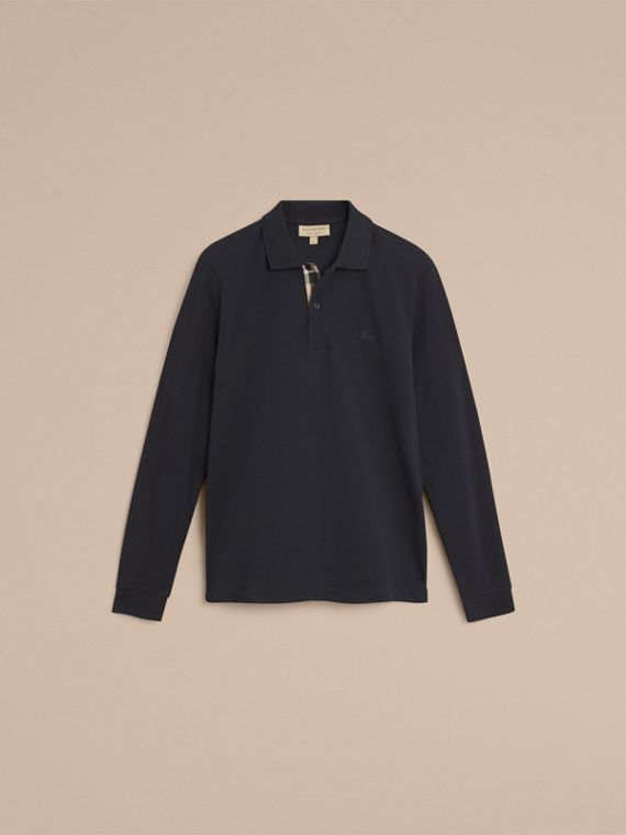 Check Placket Long Sleeve Polo Shirt in Dark Navy - cell image 3