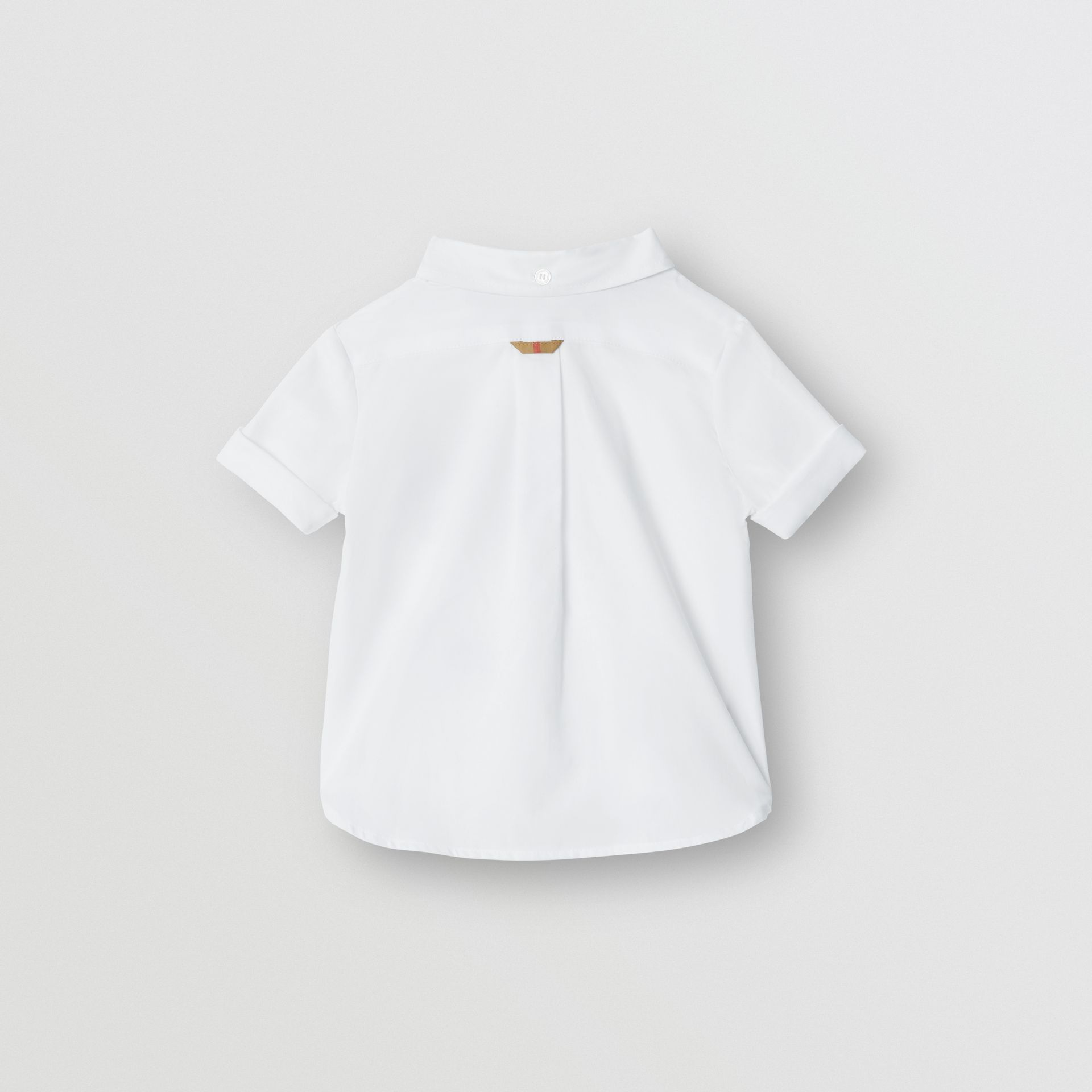 Short-sleeve Check Detail Cotton Oxford Shirt in White - Children | Burberry - gallery image 3